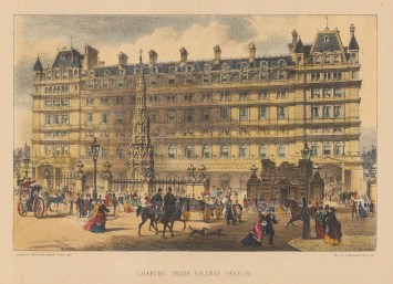 """Cassell: Charing Cross station. c1880. A hand coloured original antique lithograph. 8"""" x 5"""". [LDNp9869]"""