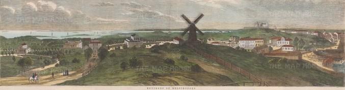 "Illustrated London News: Helsinki, Finland. c1880. A hand coloured original antique wood engraving. 20"" x 4"". [SCANp224]"