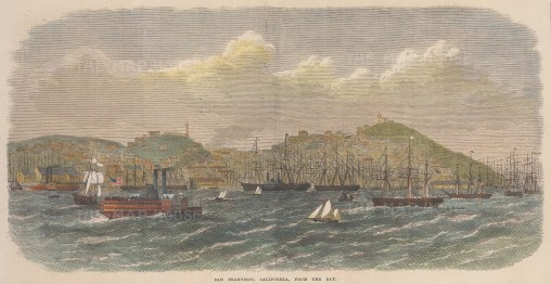 "Illustrated London News: San Francisco. 1868. A hand coloured original antique wood engraving. 14"" x 7"". [USAp5027]"