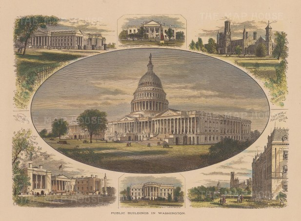 Capitol: Central view of the capitol surrounded by vignettes of the White House, Treasury, Smithsonian, and City Hall.