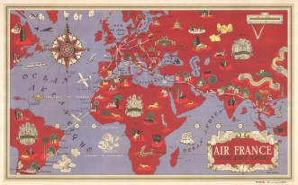 Reseau Aerien Mondial: Map of the world on Mercator's Projection by Lucien Boucher promoting Air France's routes from Paris to South America, Africa, and Asia.