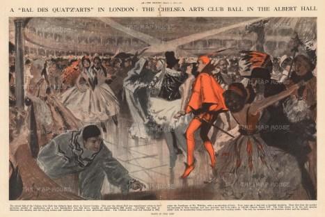 Chelsea Arts Club Bal des Quat'z'Arts. Royal Albert Hall. By the Australian WWI artist Fred Leist.
