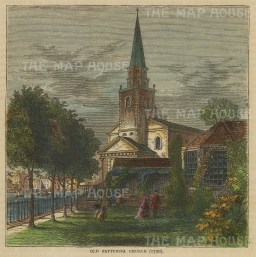 """Old & New: Battersea Old Church. c1880. A hand coloured original antique wood engraving. 6"""" x 4"""". [LDNp10509]"""