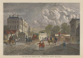 "Old & New: Hyde Park Corner. c1880. A hand coloured original antique wood engraving. 8"" x 6"". [LDNp10617]"