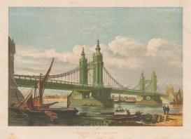 "Illustrated London News: Chelsea Bridge. 1879. An original antique chromolithograph. 12"" x 9"". [LDNp10676]"