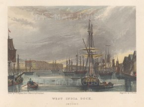 """Fearnside: West India Dock. 1838. A hand coloured original antique steel engraving. 6"""" x 4"""". [LDNp10861]"""