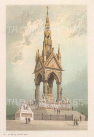 """Nelson: Albert Memorial. c1889. An original antique chromolithograph. 5"""" x 4"""". [LDNp10918]"""