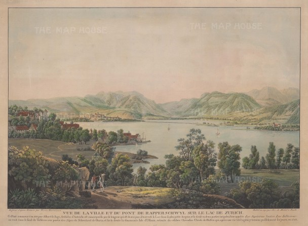 Rapperswil: View of the city with Lake Zurich. Text in French relating to the medieval wooden foot bridge and the island d'Ufenau. After Pierre Biermann.