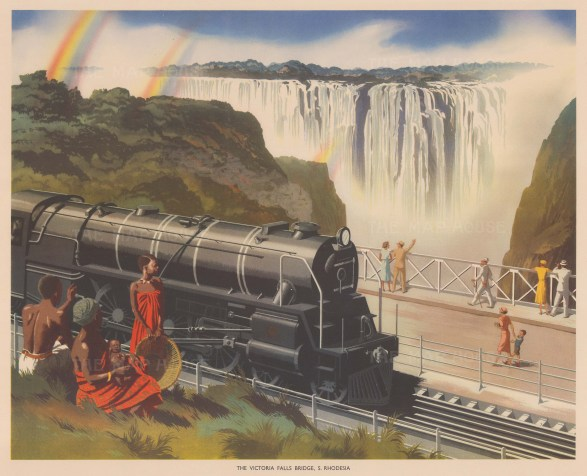 "Packham: Victoria Falls. 1940. An original vintage chromolithograph. 20"" x 16"". [AFRp1441]"