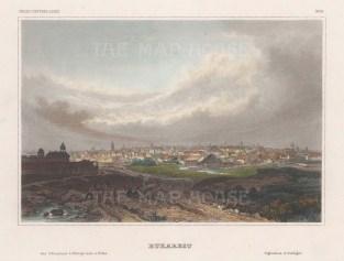 "Meyer: Bucharest, Bulgaria. 1856. A hand coloured original antique steel engraving. 6"" x 4"". [CEUp560]"
