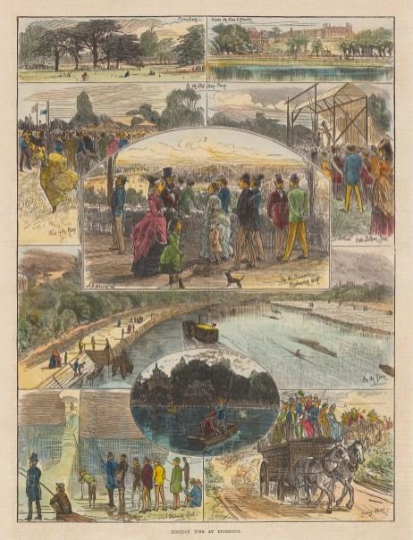 "Illustrated London News: Richmond. 1872. A hand coloured original antique wood engraving. 9"" x 14"". [LDNp10901]"