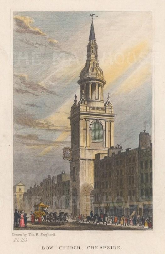 "Shepherd: Bow Church Cheapside. 1829. A hand coloured original antique copper engraving. 3"" x 4"". [LDNp10906]"