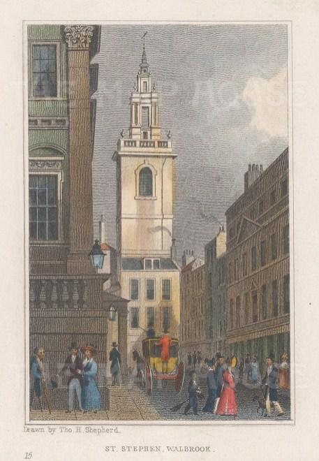 "Shepherd: St Stephen Walbrook. 1829. A hand coloured original antique copper engraving. 3"" x 4"". [LDNp10908]"