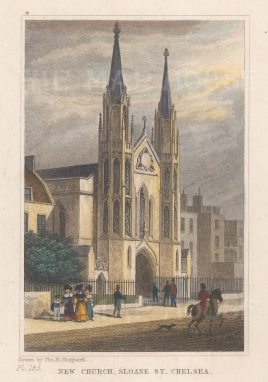 Sloane Street: James Savage's neo Gothic Church replaced by Holy Trinity.