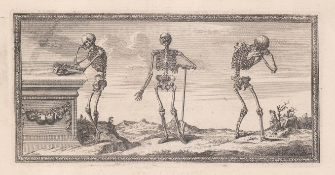Skeletons: Three skeletons at the graveside with ornate border.