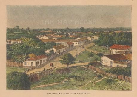 "Reclus: Manaus. 1894. A hand coloured original antique wood engraving. 7"" x 5"". [SAMp1495]"