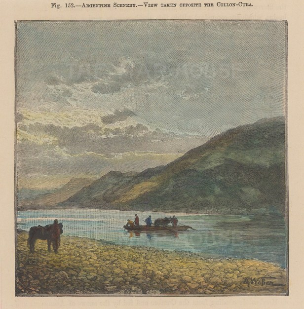 "Brown: Collon-Cura River, Argentina. 1885. A hand coloured original antique wood engraving. 8"" x 6"". [SAMp1499]"
