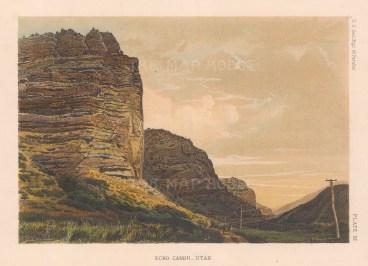 "U.S. Geo Survey: Echo Canyon, Utah. 1878. An original colour antique lithograph. 9"" x 7"". [USAp5070]"