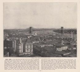 Brooklyn Bridge: Panoramic view towards the bridge. With Text.