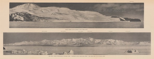 Double Panorama: Mount Erebus and glaciers to Turk's head. Royal Society Mountains, Victorialand from Cape Evans. Terra Nova Expedition 1910-13.
