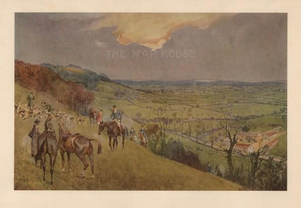 Fox Hunting: The Duke of Beaufort's. Kill above the Sodbury Vale.