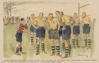 """Punch: Rugby. 1926. A hand coloured original vintage wood engraving. 6"""" x 4"""". [SPORTSp3363]"""