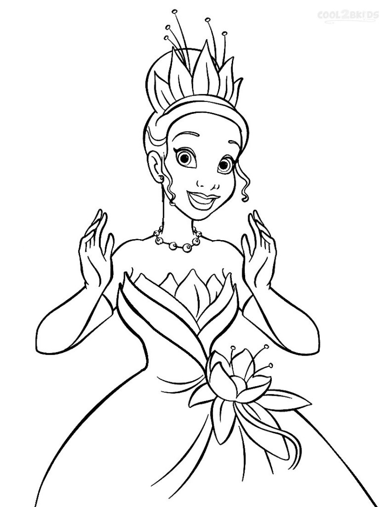 pretty tiana coloring page princess and the frog coloring page