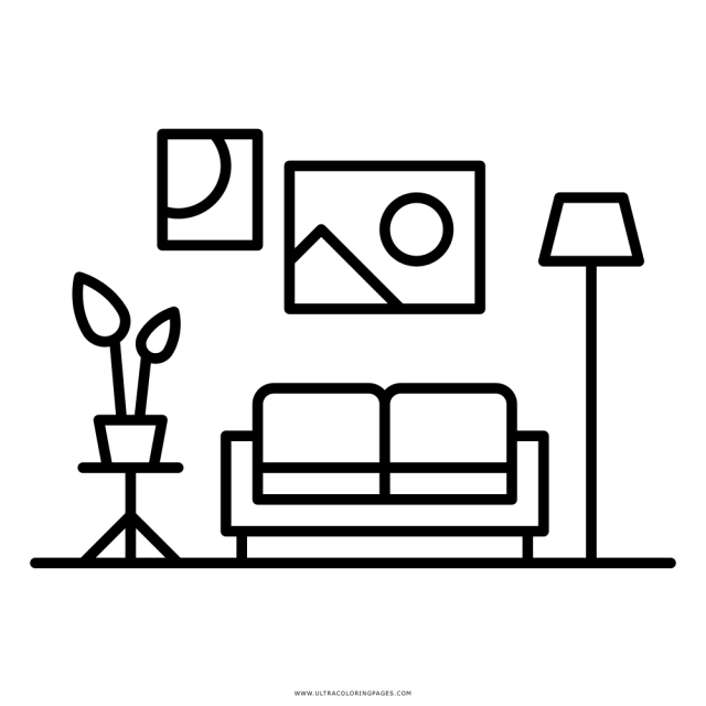 Living Room Coloring Page - Ultra Coloring Pages