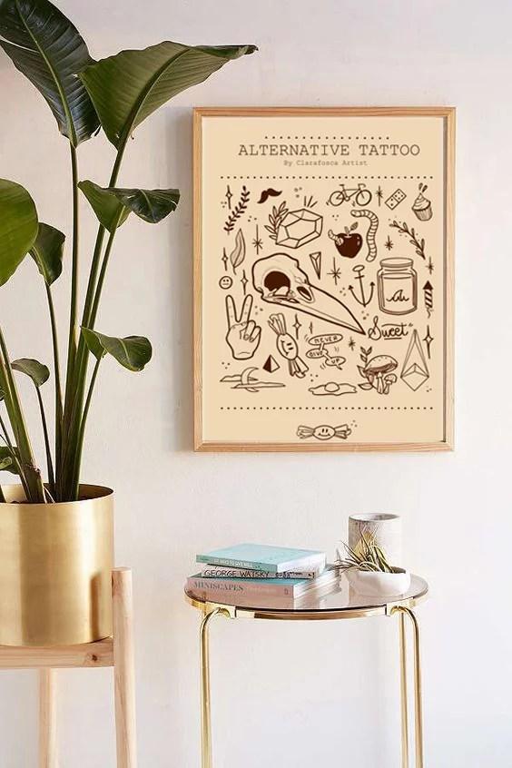 Alternative tattoo beige print
