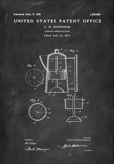 Coffee percolator Downham patent