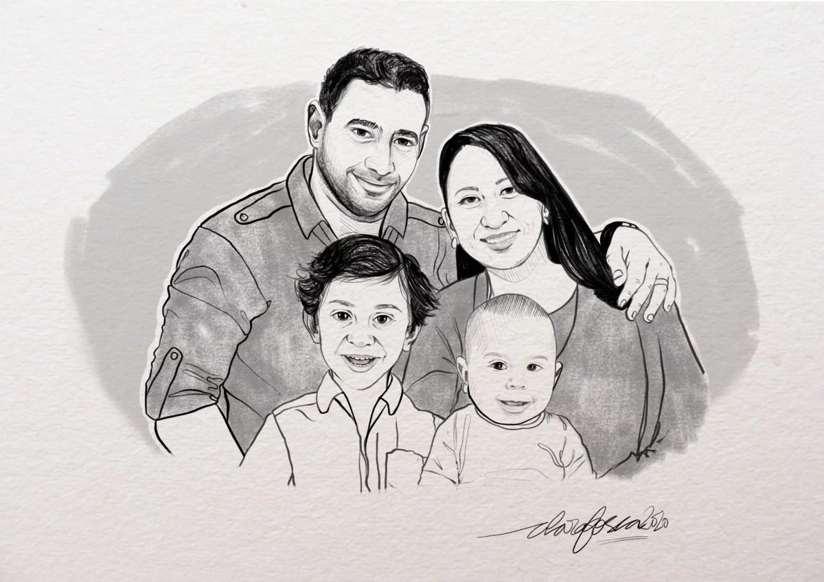 Portrait family full b-w