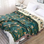 Bird and Leaf- Turquoise Blanket
