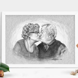 grandparents couple portrait mockup