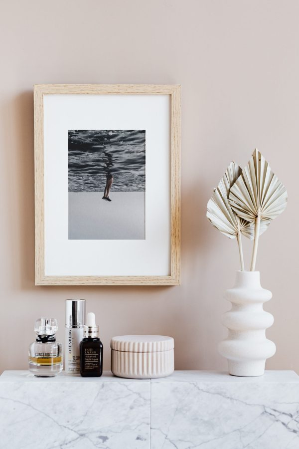 Upside down ocean photography on canvas