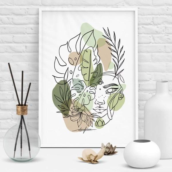 Calm nature leaves illustration