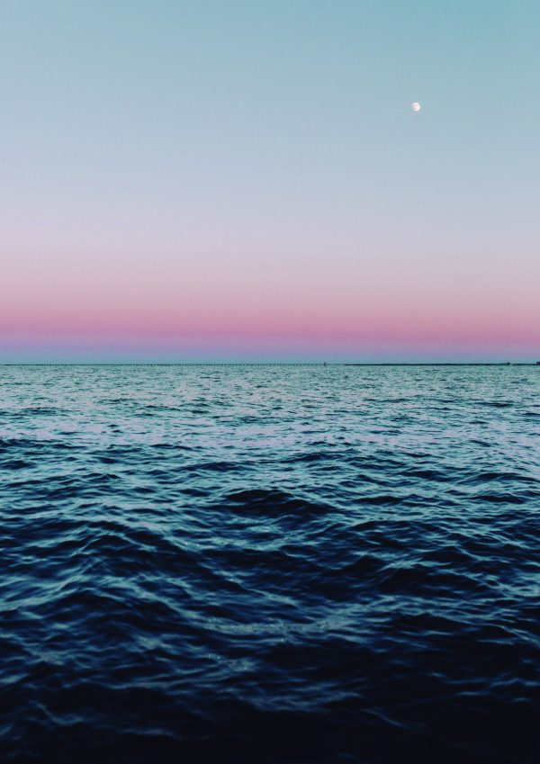 Ocean sunset with moon A4