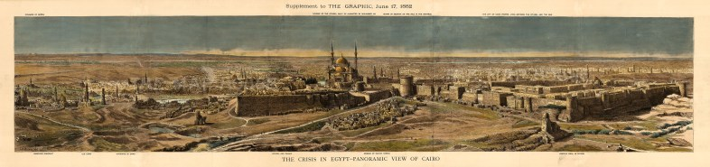 """The Graphic Magazine, 'The Crisis in Egypt - Panoramic View of Cairo' A hand-coloured original wood-engraving. 12"""" x 53"""". £POA."""