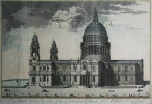 """Harris, 'St.Paul's Cathedral: South East Prospect', 1715. An original copper-engraving. 17"""" x 26"""". £POA."""
