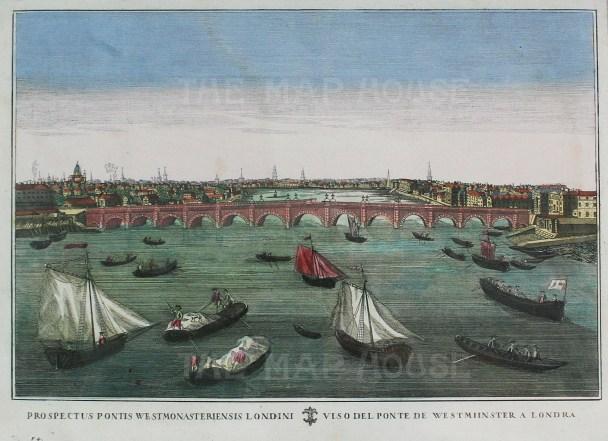 """Anon, 'Westminster Bridge', c.1780. An original colour copper-engraving. 17"""" x 13"""". £POA."""