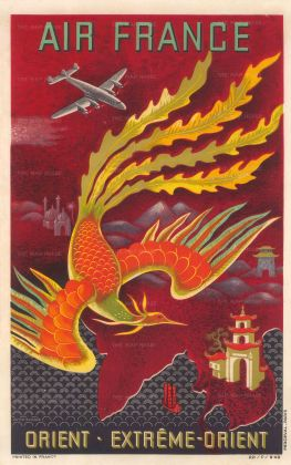 Lucien Boucher for Air France: Orient - Extréme Orient. 1949. Original chromo-lithograph 12 x 19 inches. Framed [POSTERp285w]