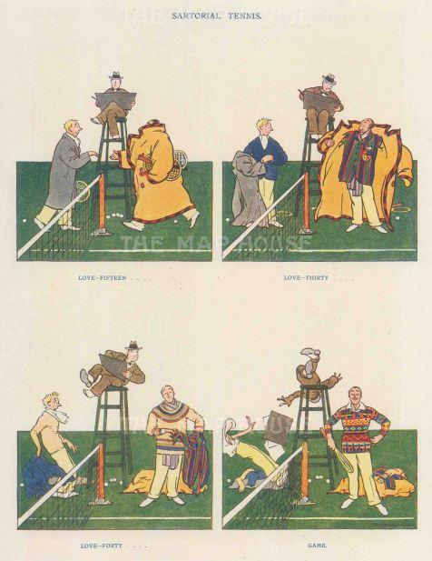 Punch Magazine: Tennis Cartoon. 1934. Vintage chromo-lithograph, 6 x 10 inches. [SPORTSp3526]