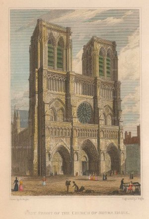 Pugin: Paris. 1828. A hand-coloured original antique steel-engraving. 4 x 6 inches. [FRp1516]