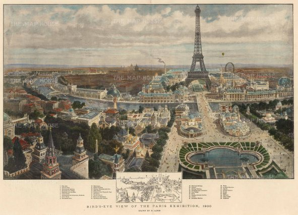 The Graphic Magazine: Paris. 1900. A hand-coloured original antique photo-lithograph. 20 x 14 inches. [FRp1613]