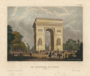 Meyer: Paris. 1844. A hand-coloured original antique steel-engraving. 6 x 5 inches. [FRp1625]