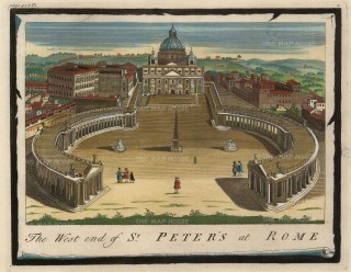 Moll: Vatican City, Rome. Hand-coloured original copper engraving, 1745. 10 x 8 inches. [ITp2140]