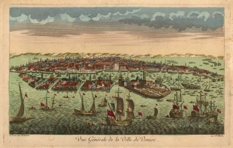 Vue D'Optique: Venice, c. 1760. Original colour antique copper engraving. 13 x 18 inches [ITp2204]