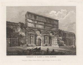 Cottafavi: Porta Maggiore, Rome. Etching, c. 1843. 11 x 8 inches. [ITp2206]