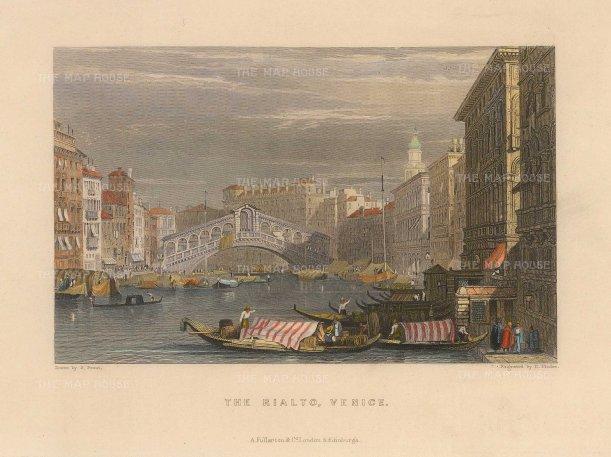 Fullarton: Rialto Bridge, Venice. Hand-coloured steel-engraving, 1833. 6 x 5 inches. [ITp2224]