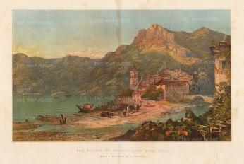 Illustrated London News: Lake Como, 1863. Antique original chromo-lithograph, 18 x 15 inches.[ITp2238]