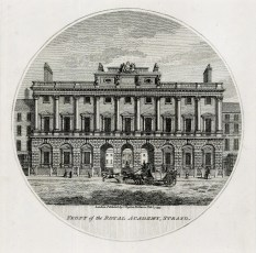 "Charles Taylor, 'Front of the Royal Academy, Strand', 1796. An original black and white copper-engraving. 6"" x 6"". £POA."